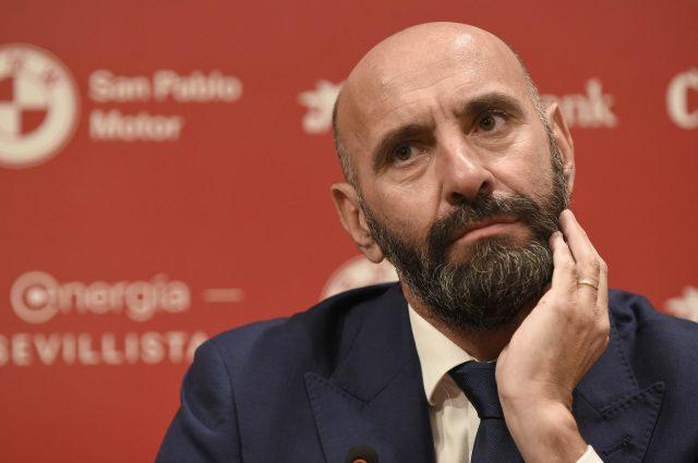 Monchi, durante la presentación de Jordán y Diego Carlos | Imagen: Sevilla FC